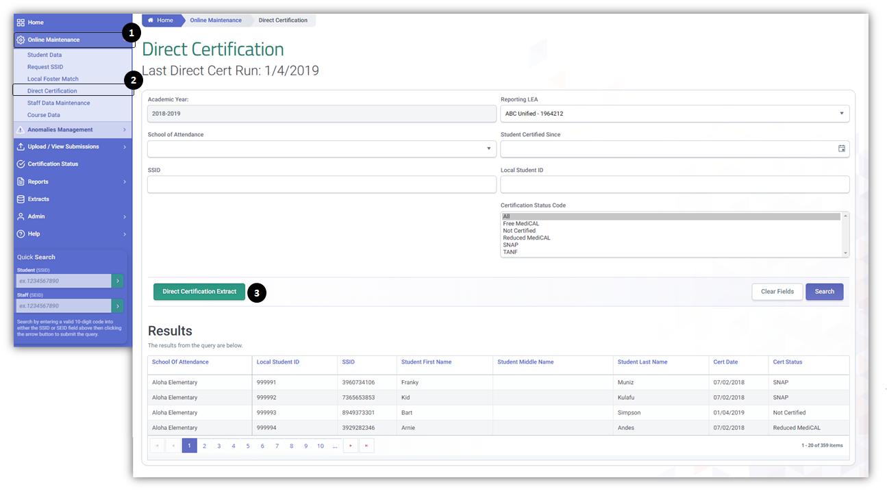 Direct Certification - CALPADS User Manual